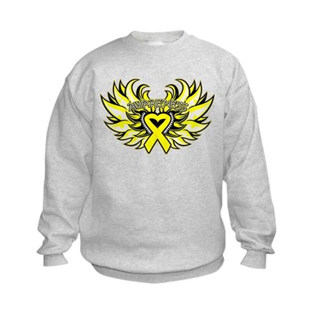 Testicular Cancer Heart Wings Kids Sweatshirt