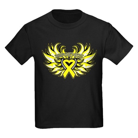 Testicular Cancer Heart Wings Kids Dark T-Shirt