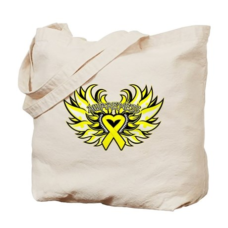 Testicular Cancer Heart Wings Tote Bag