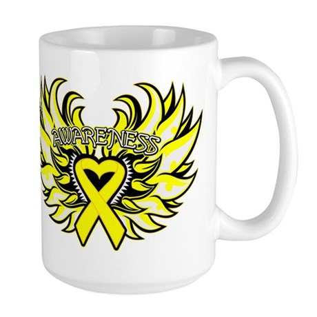 Testicular Cancer Heart Wings Large Mug