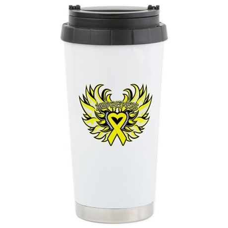 Testicular Cancer Heart Wings Ceramic Travel Mug