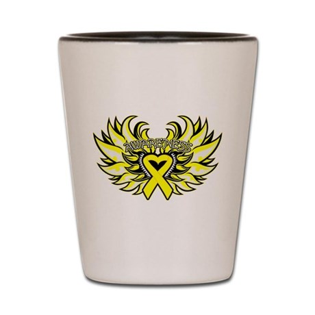 Testicular Cancer Heart Wings Shot Glass