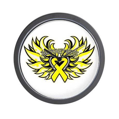 Testicular Cancer Heart Wings Wall Clock