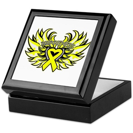 Testicular Cancer Heart Wings Keepsake Box