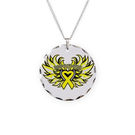 Testicular Cancer Heart Wings Necklace Circle Char