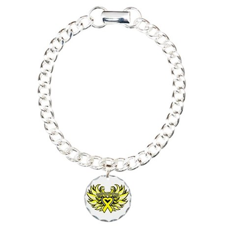 Testicular Cancer Heart Wings Charm Bracelet, One