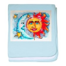 Celestial Sun and Moon baby blanket