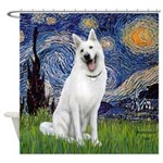 Starry-White German Shepherd Shower Curtain