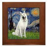 Starry-White German Shepherd Framed Tile