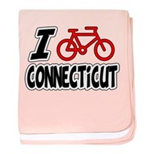 I Love Cycling Connecticut baby blanket