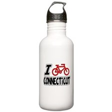 I Love Cycling Connecticut Water Bottle