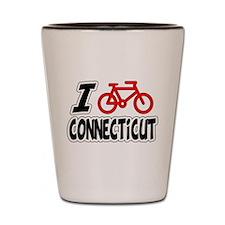 I Love Cycling Connecticut Shot Glass