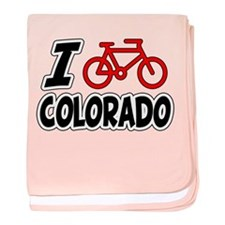 I Love Cycling Colorado baby blanket