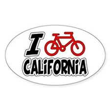 I Love Cycling California Decal
