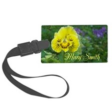 Yellow Pansy Flower Large Luggage Tag
