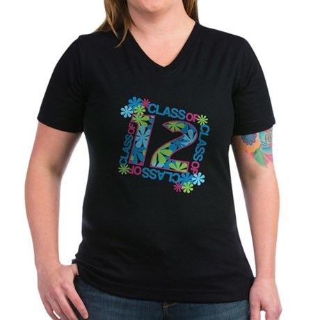Class 2012 Blossoms Women's V-Neck Dark T-Shirt