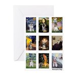 FamousArtSchnauzers (clr) Greeting Cards (Pk of 10