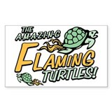 Amazing Flaming Turtles Rectangle Decal