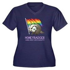 HONEY BADGER CARES! Women's Plus Size V-Neck Dark