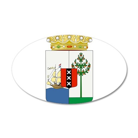 Curacao Coat Of Arms 20x12 Oval Wall Decal