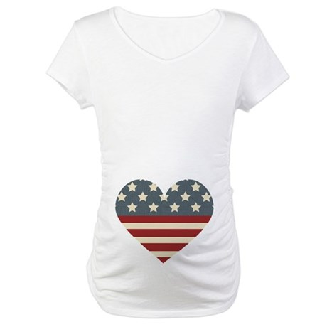 America Flag Heart 4th of July Maternity T-Shirt