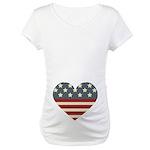 America Flag Heart 4th of July Maternity T-Shirt