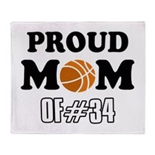 Cool Basketball Mom of number 34 Throw Blanket