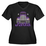 Trucker Jada Women's Plus Size V-Neck Dark T-Shirt