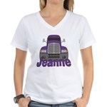 Trucker Jeanne Women's V-Neck T-Shirt