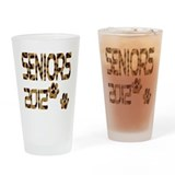 seniors 2012 leopard print paws Drinking Glass