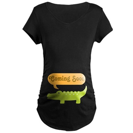 Funny Coming Soon Alligator Maternity Dark T-Shirt