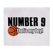 Basketball Parent Of Number 9 Throw Blanket