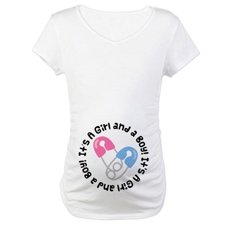 Girl and Boy Twins Belly Print Maternity Tee