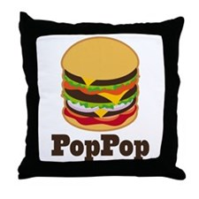PopPop BBQ Grilling Grandpa Throw Pillow