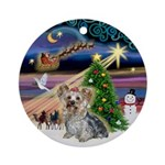 Xmas Magic & Yorkie Ornament (Round)