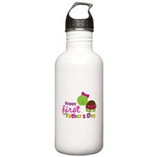 Girl turtle happy 1st fathers day Water Bottle