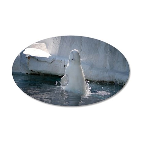 Beluga Whale jumping 3 20x12 Oval Wall Decal