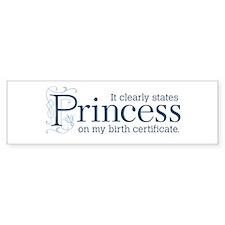 Princess Certificate Bumper Sticker