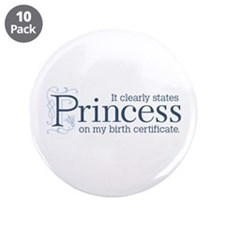 "Princess Certificate 3.5"" Button (10 pack)"