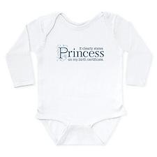 Princess Certificate Long Sleeve Infant Bodysuit