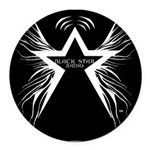 Black Star Radio Black Round Car Magnet