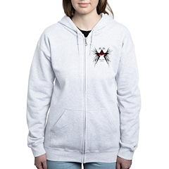 Black Star Logo White Women's Zip Hoodie