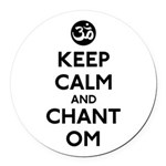 Keep Calm and Chant Om Round Car Magnet
