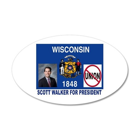 WALKER FOR PRESIDENT 20x12 Oval Wall Decal