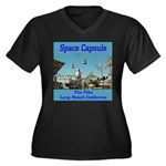 Space Capsule Women's Plus Size V-Neck Dark T-Shir