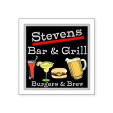 "Personalized Bar and Grill Square Sticker 3"" x 3"""