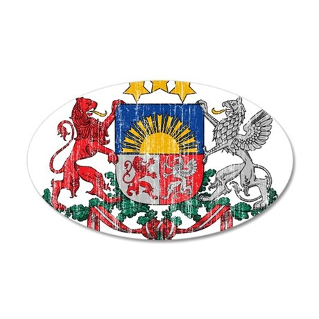 Latvia Coat Of Arms 35x21 Oval Wall Decal