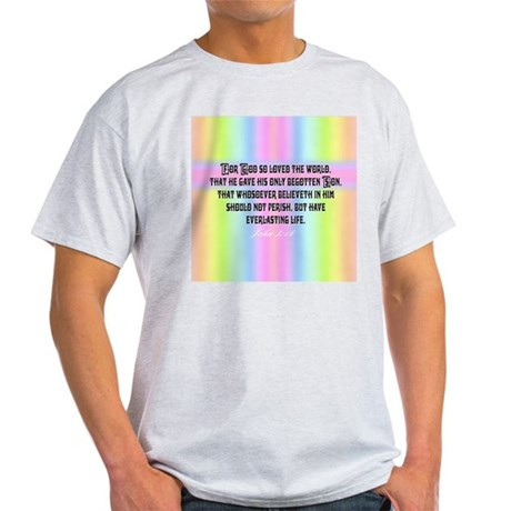 John 3:16 Rainbow Ash Grey T-Shirt