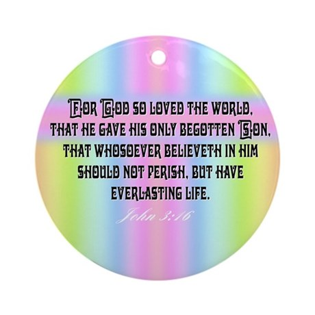 John 3:16 Rainbow Ornament (Round)