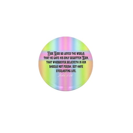 John 3:16 Rainbow Mini Button (10 pack)